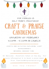 Craft & Praise Candlemas: Saturday 1st February, 3pm-5pm